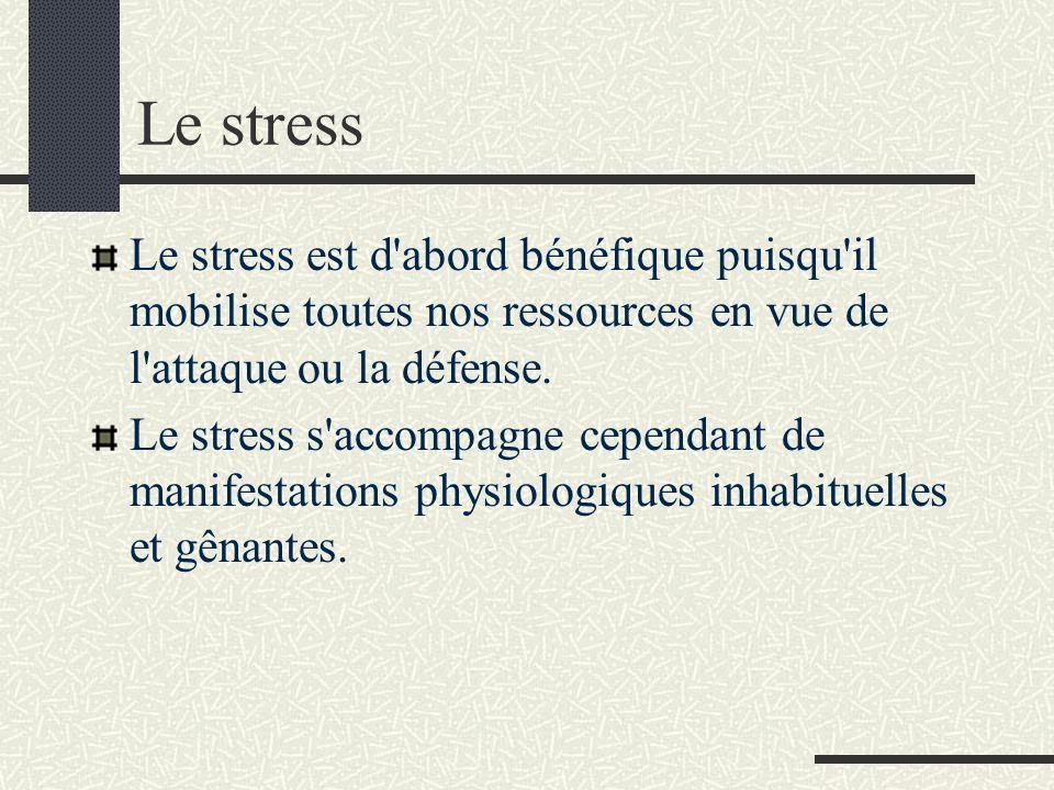 Le stress Le stress est d abord bénéfique puisqu il mobilise toutes nos ressources en vue de l attaque ou la défense.