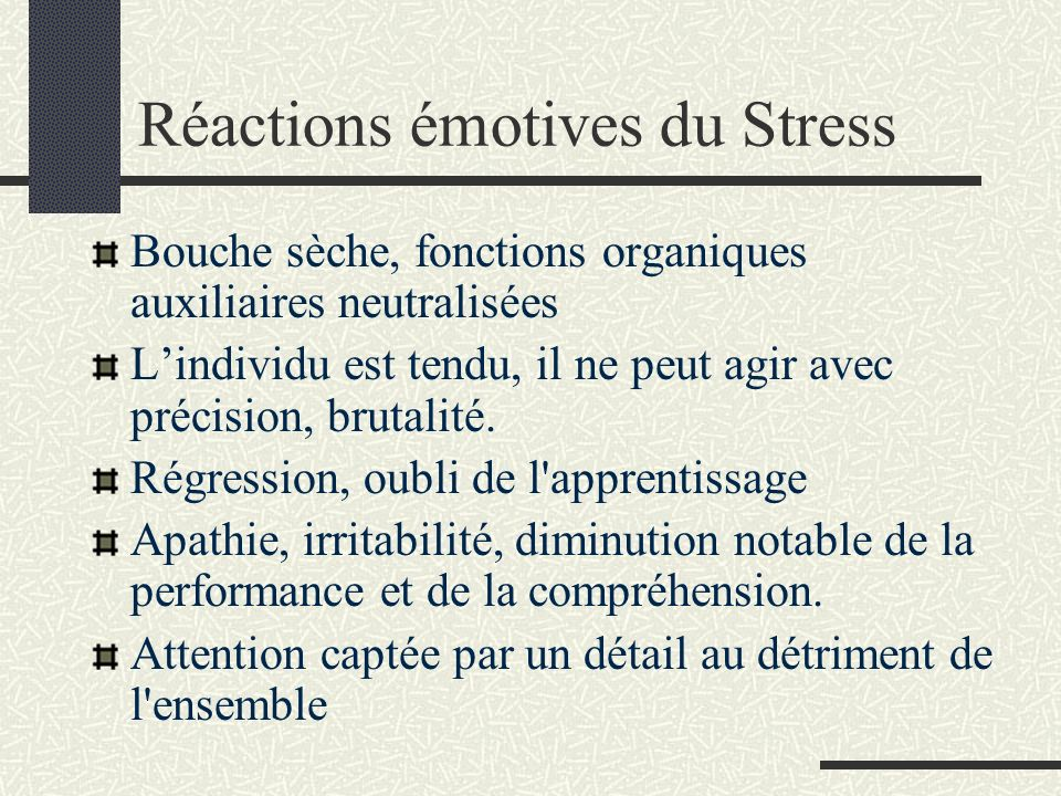 Réactions émotives du Stress