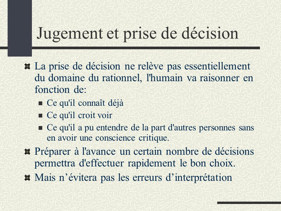 Jugement et prise de décision