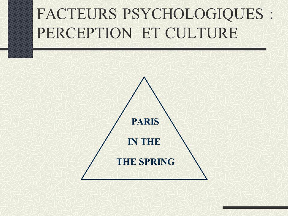 FACTEURS PSYCHOLOGIQUES : PERCEPTION ET CULTURE