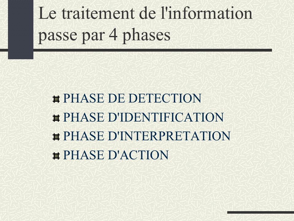 Le traitement de l information passe par 4 phases
