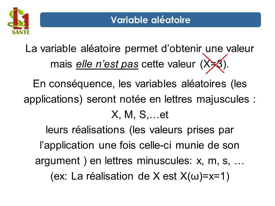La variable aléatoire permet d'obtenir une valeur