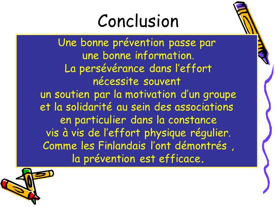 Conclusion Une bonne prévention passe par une bonne information.