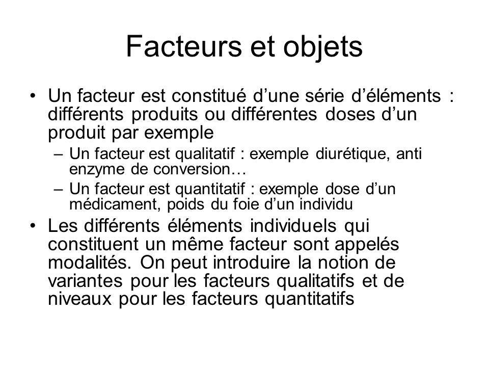 Facteurs et objetsUn facteur est constitué d'une série d'éléments : différents produits ou différentes doses d'un produit par exemple.