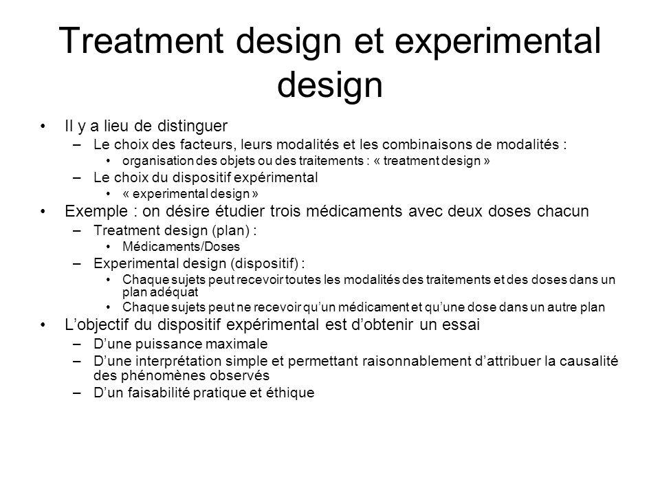 Treatment design et experimental design