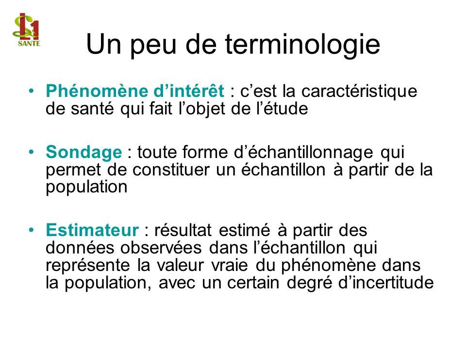Un peu de terminologie Phénomène d'intérêt : c'est la caractéristique de santé qui fait l'objet de l'étude.