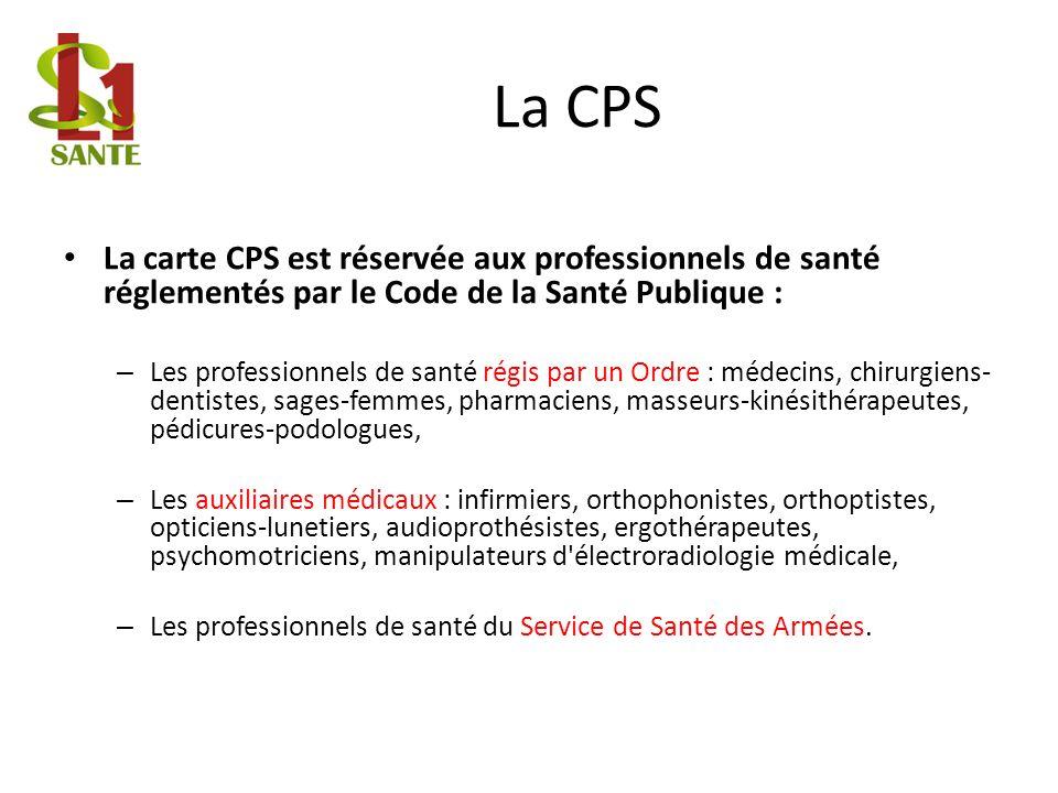 La CPSLa carte CPS est réservée aux professionnels de santé réglementés par le Code de la Santé Publique :