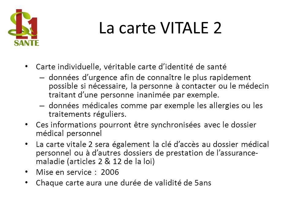 La carte VITALE 2Carte individuelle, véritable carte d'identité de santé.