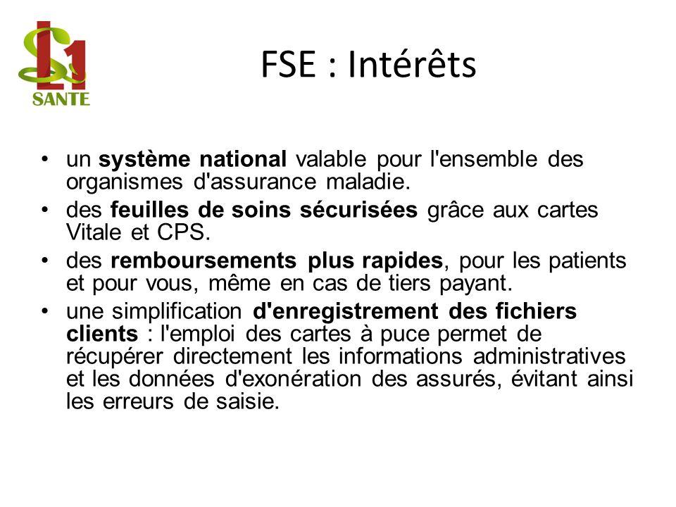 FSE : Intérêts un système national valable pour l ensemble des organismes d assurance maladie.