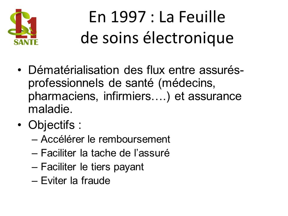 En 1997 : La Feuille de soins électronique