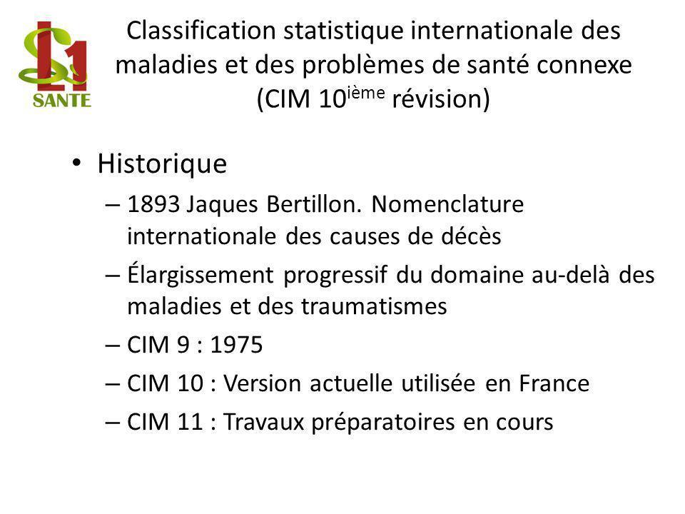 Classification statistique internationale des maladies et des problèmes de santé connexe (CIM 10ième révision)