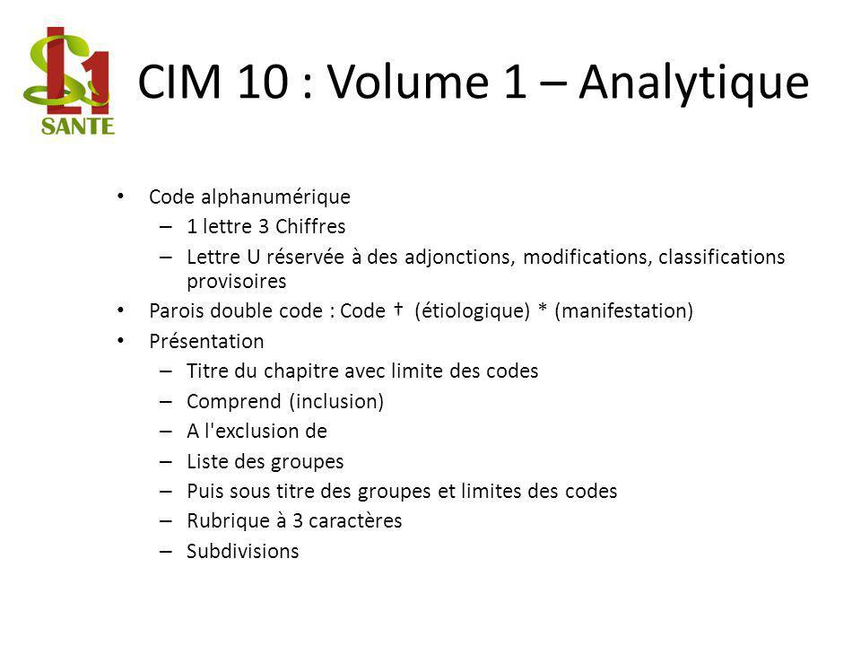 CIM 10 : Volume 1 – Analytique