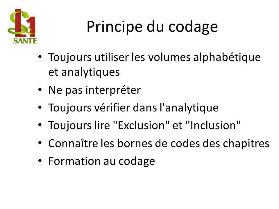 Principe du codage Toujours utiliser les volumes alphabétique et analytiques. Ne pas interpréter. Toujours vérifier dans l analytique.