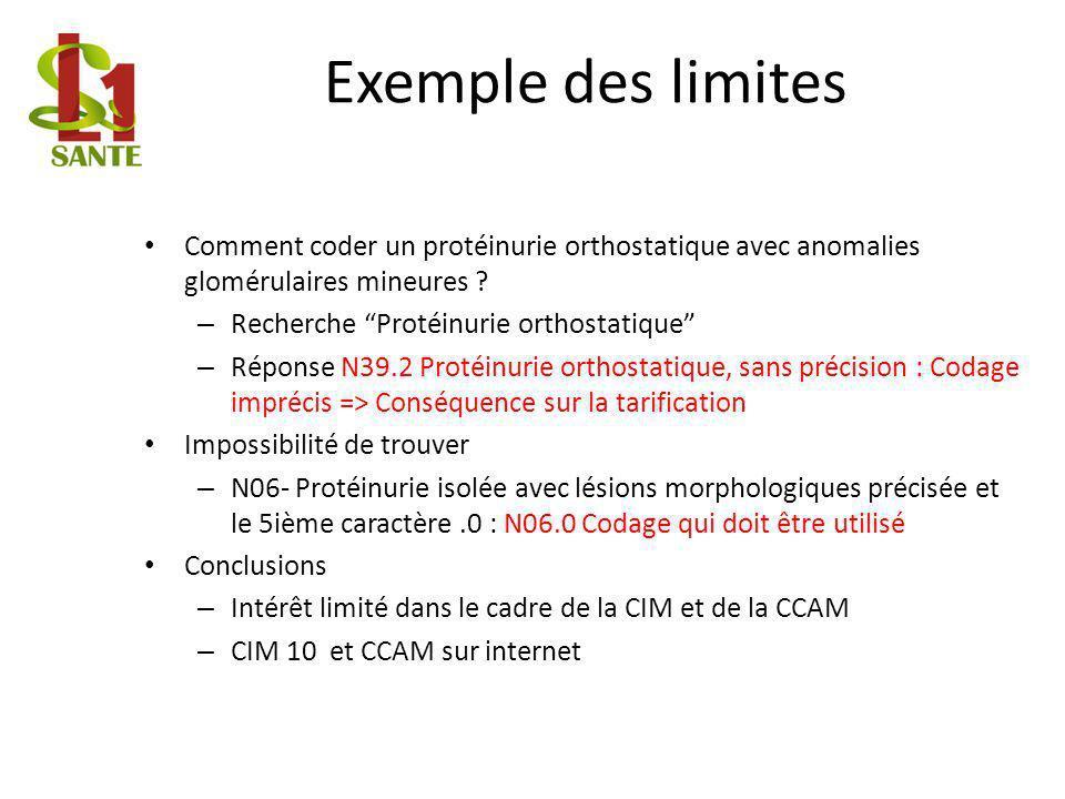 Exemple des limites Comment coder un protéinurie orthostatique avec anomalies glomérulaires mineures