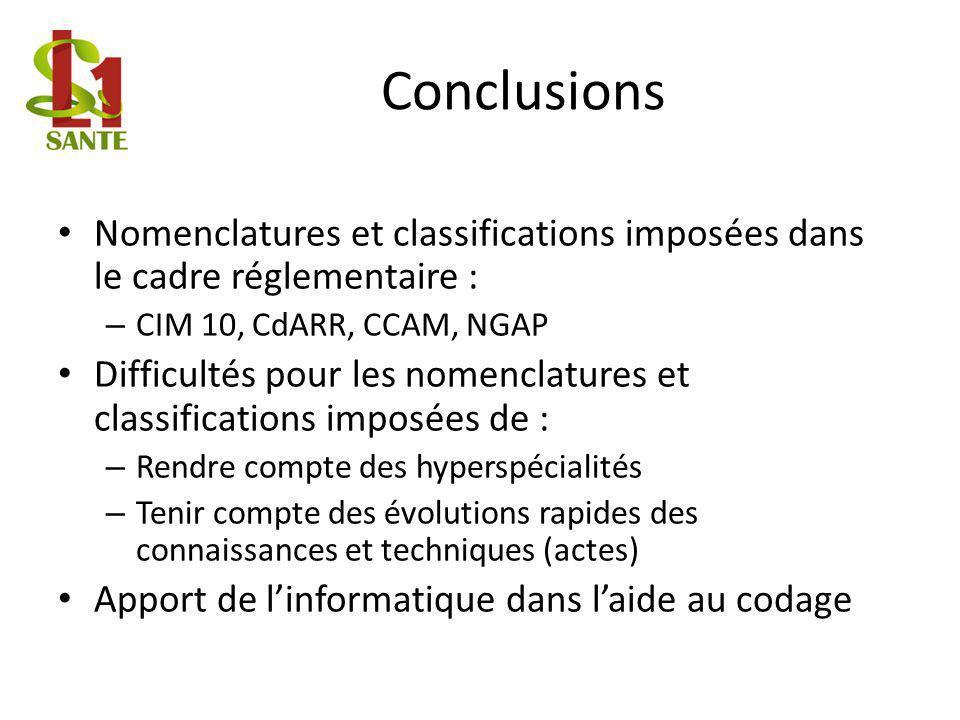 Conclusions Nomenclatures et classifications imposées dans le cadre réglementaire : CIM 10, CdARR, CCAM, NGAP.
