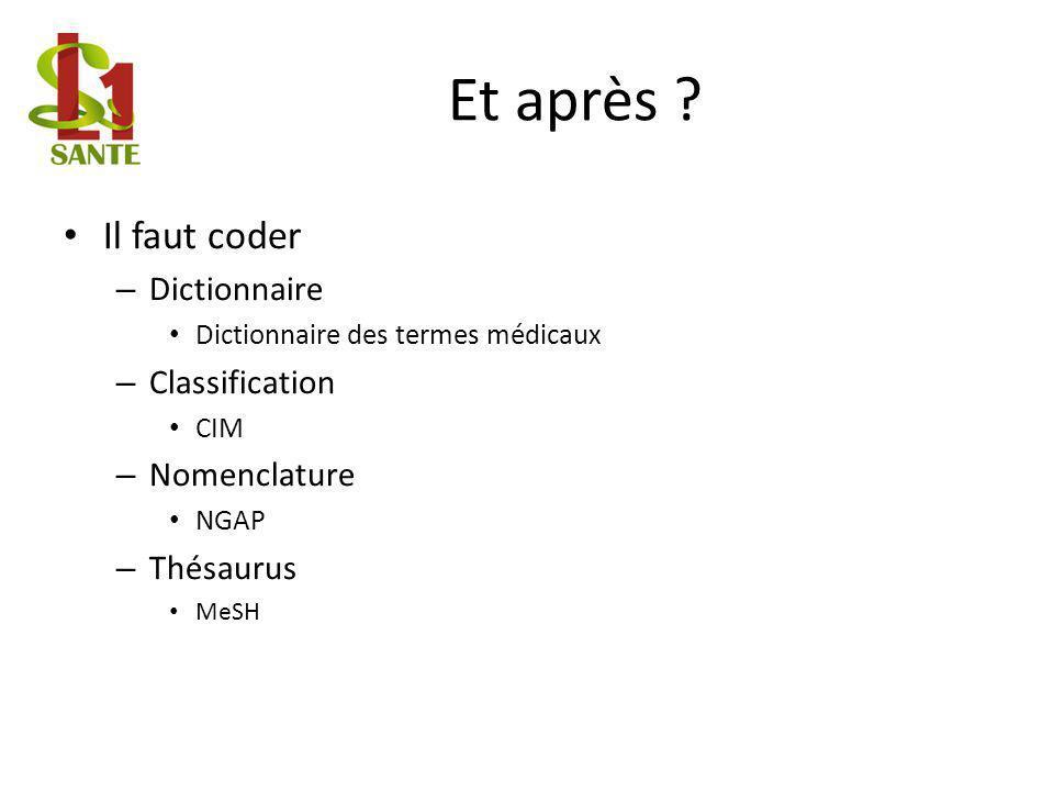 Et après Il faut coder Dictionnaire Classification Nomenclature