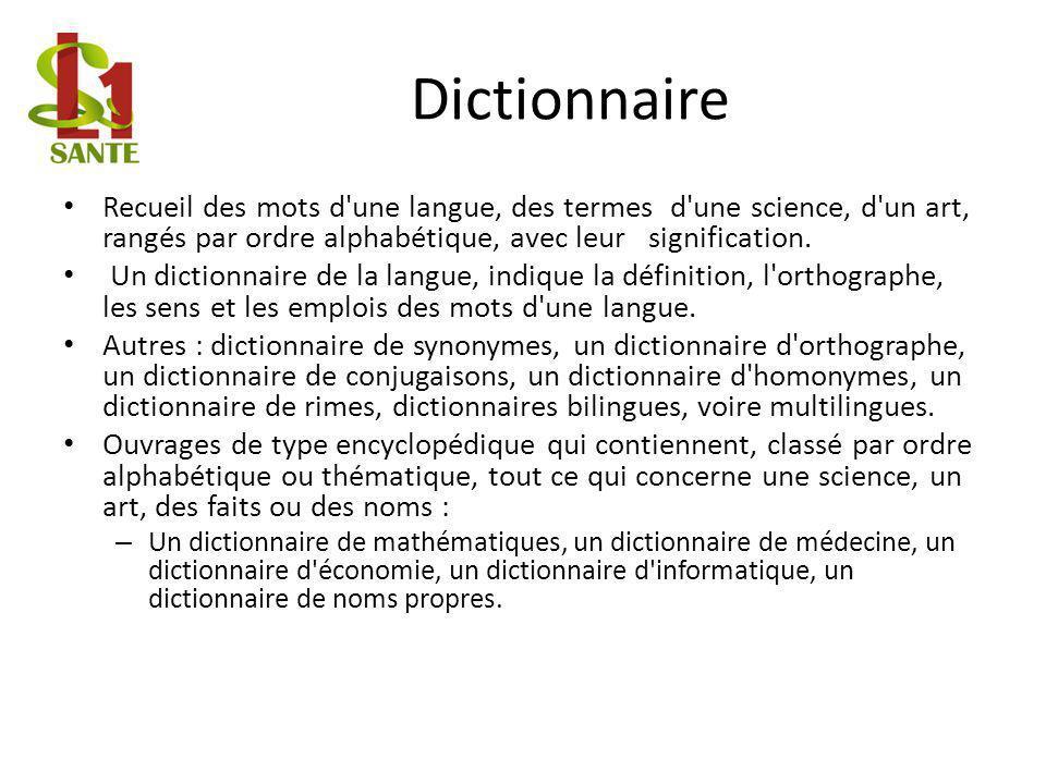 Dictionnaire Recueil des mots d une langue, des termes d une science, d un art, rangés par ordre alphabétique, avec leur signification.