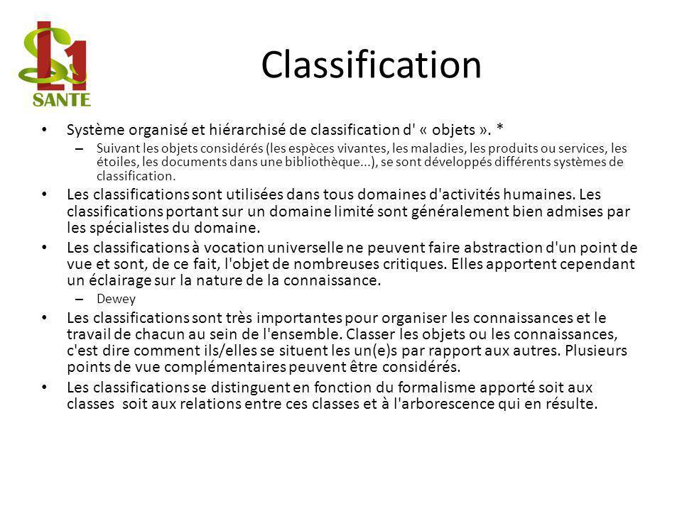 Classification Système organisé et hiérarchisé de classification d « objets ». *