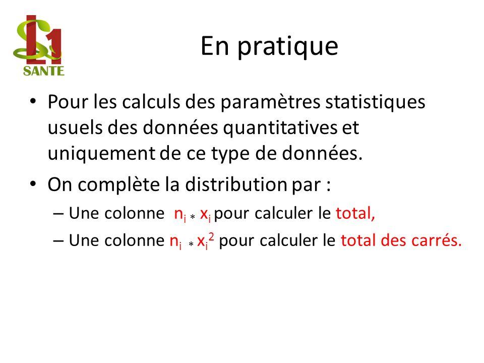 En pratique Pour les calculs des paramètres statistiques usuels des données quantitatives et uniquement de ce type de données.
