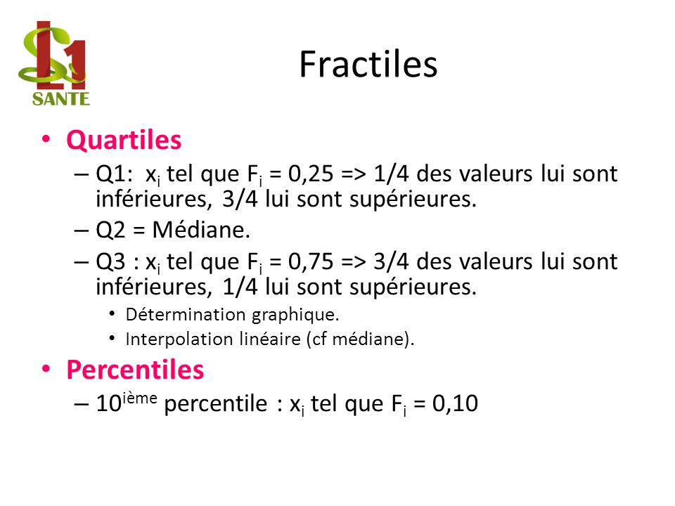 Fractiles Quartiles Percentiles