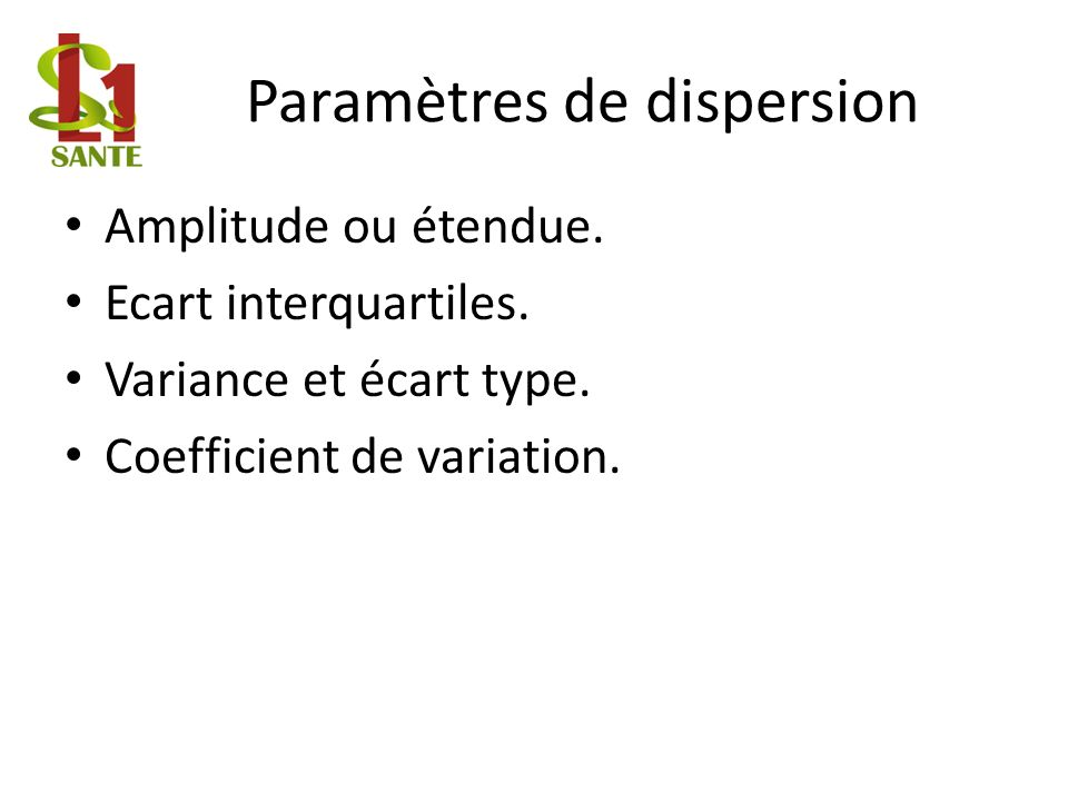 Paramètres de dispersion