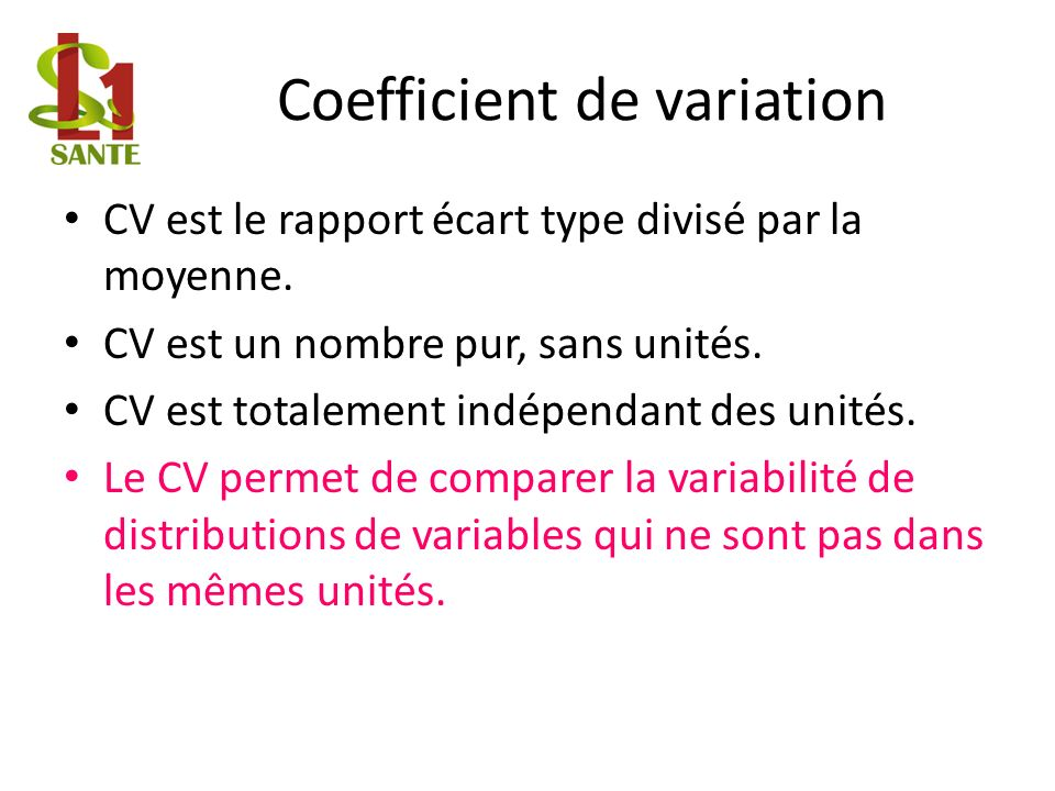 Coefficient de variation
