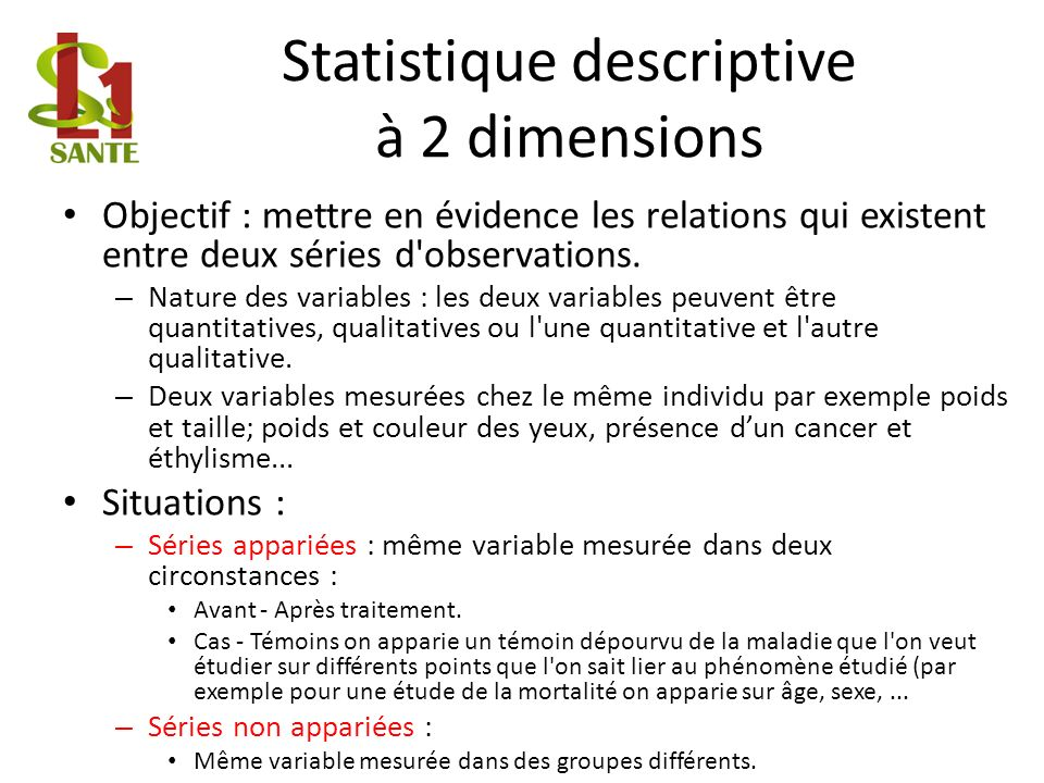 Statistique descriptive à 2 dimensions