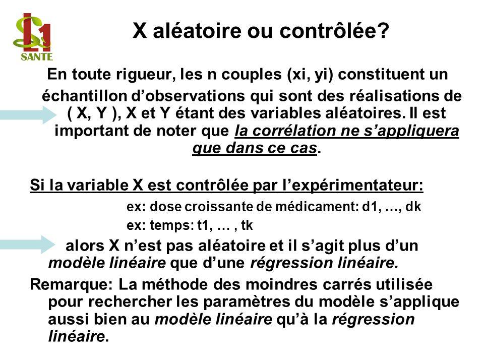 X aléatoire ou contrôlée