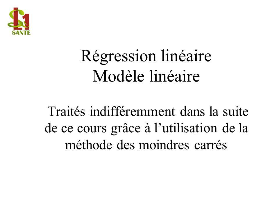 Régression linéaire Modèle linéaire Traités indifféremment dans la suite de ce cours grâce à l'utilisation de la méthode des moindres carrés