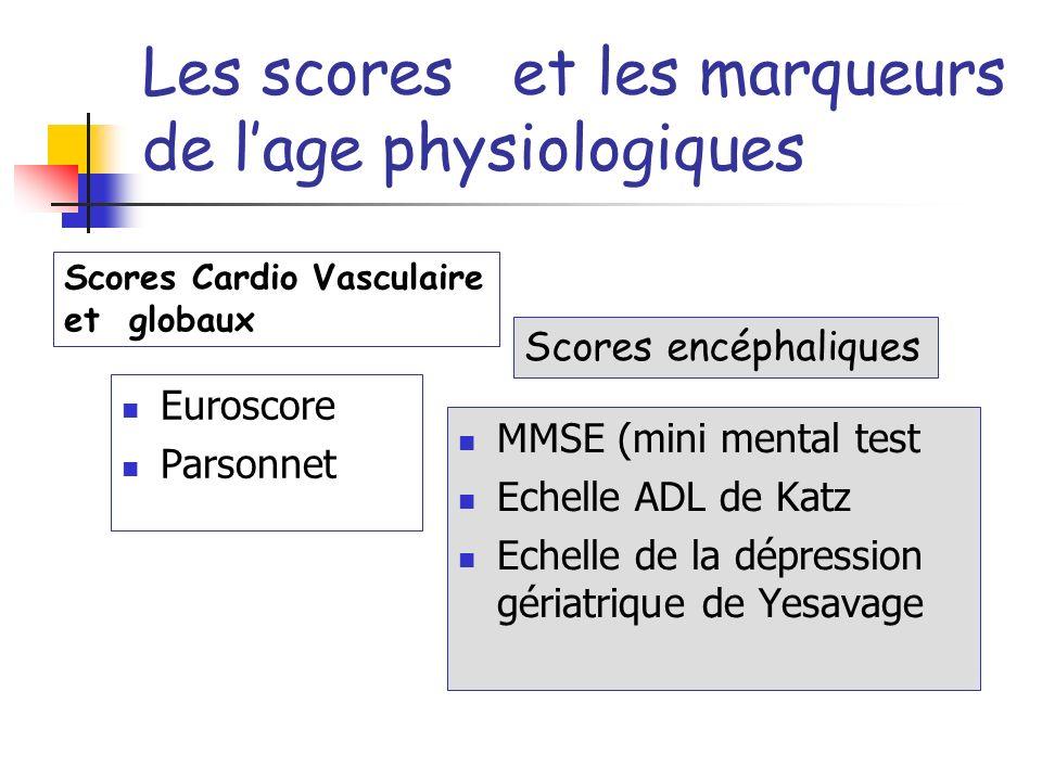 Les scores et les marqueurs de l'age physiologiques