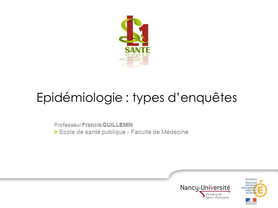 Epidémiologie : types d'enquêtes