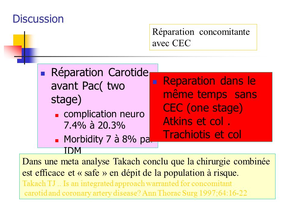 Réparation Carotide avant Pac( two stage)