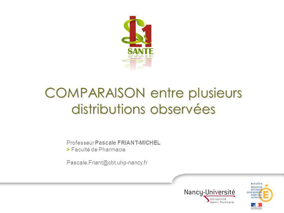 COMPARAISON entre plusieurs distributions observées