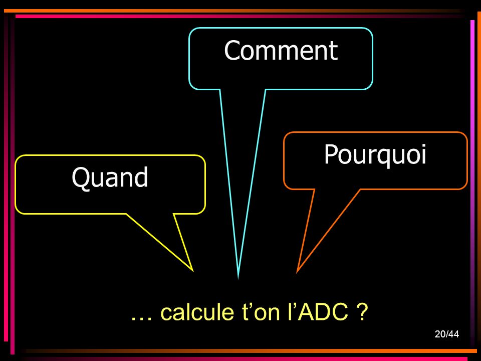 Comment Pourquoi Quand … calcule t'on l'ADC 20/44