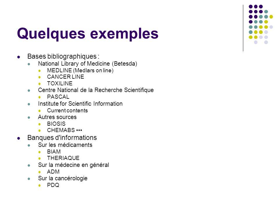 Quelques exemples Bases bibliographiques : Banques d informations