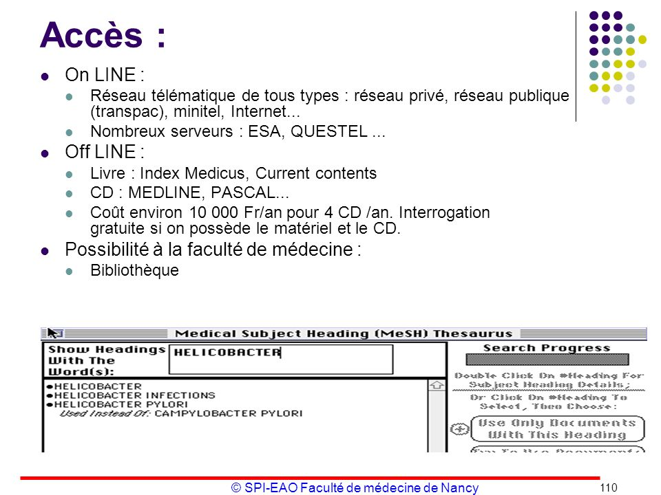 Accès : On LINE : Off LINE : Possibilité à la faculté de médecine :