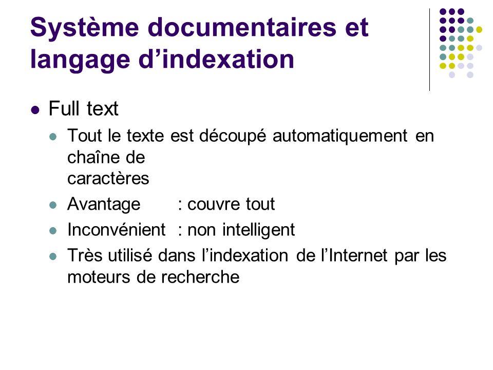 Système documentaires et langage d'indexation