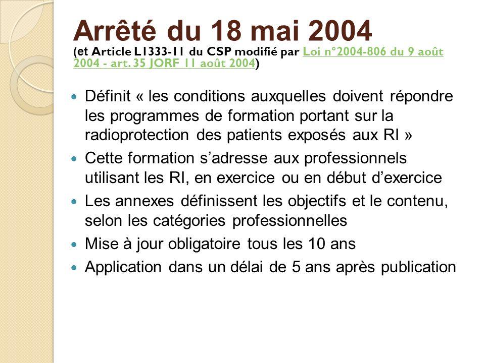 Arrêté du 18 mai 2004 (et Article L1333-11 du CSP modifié par Loi n°2004-806 du 9 août 2004 - art. 35 JORF 11 août 2004)