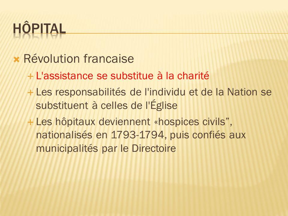 Hôpital Révolution francaise L assistance se substitue à la charité