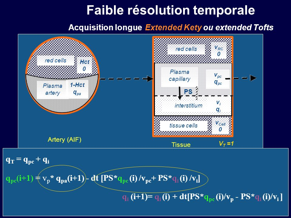 Faible résolution temporale Acquisition longue Extended Kety ou extended Tofts