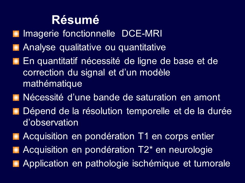 Résumé Imagerie fonctionnelle DCE-MRI