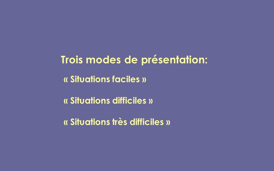 Trois modes de présentation: