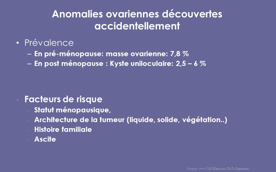 Anomalies ovariennes découvertes accidentellement