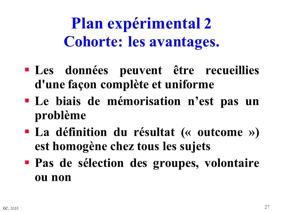 Plan expérimental 2 Cohorte: les avantages.