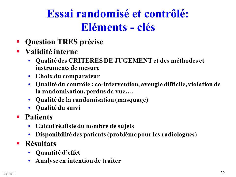 Essai randomisé et contrôlé: Eléments - clés
