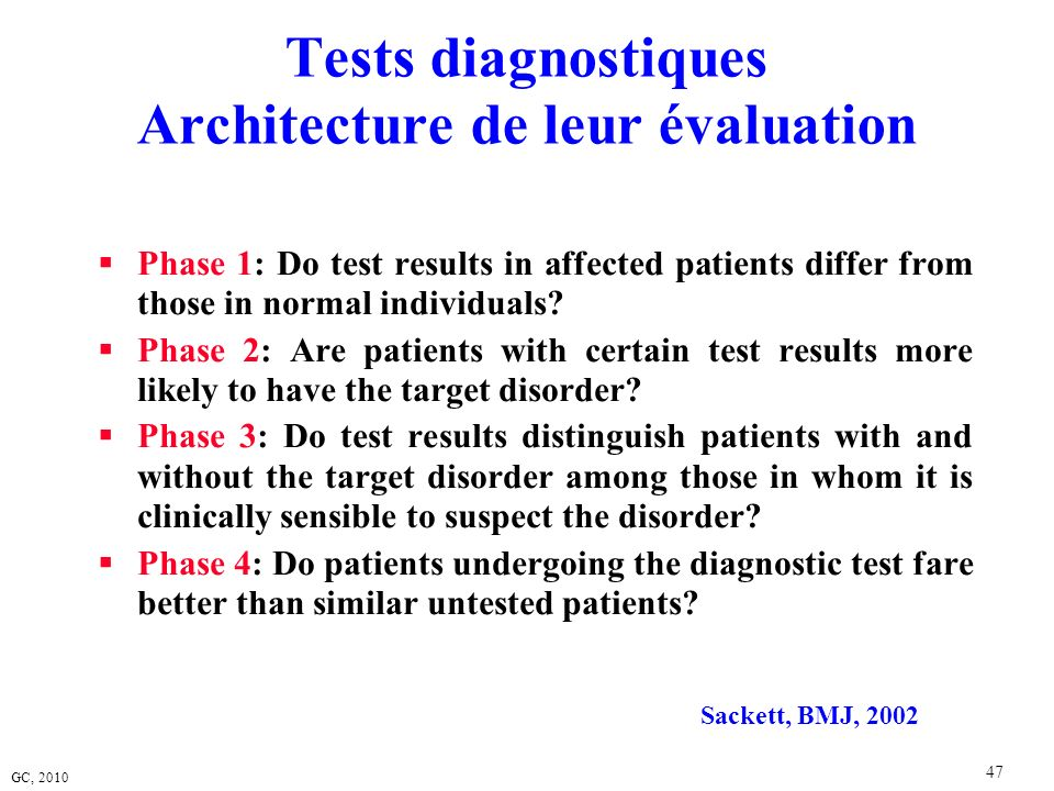 Tests diagnostiques Architecture de leur évaluation
