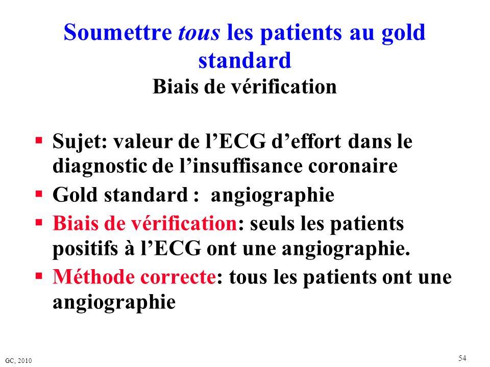 Soumettre tous les patients au gold standard Biais de vérification