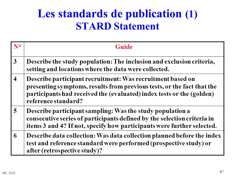 Les standards de publication (1) STARD Statement