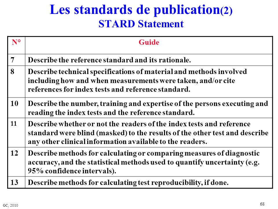 Les standards de publication(2) STARD Statement