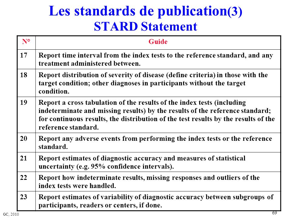 Les standards de publication(3) STARD Statement